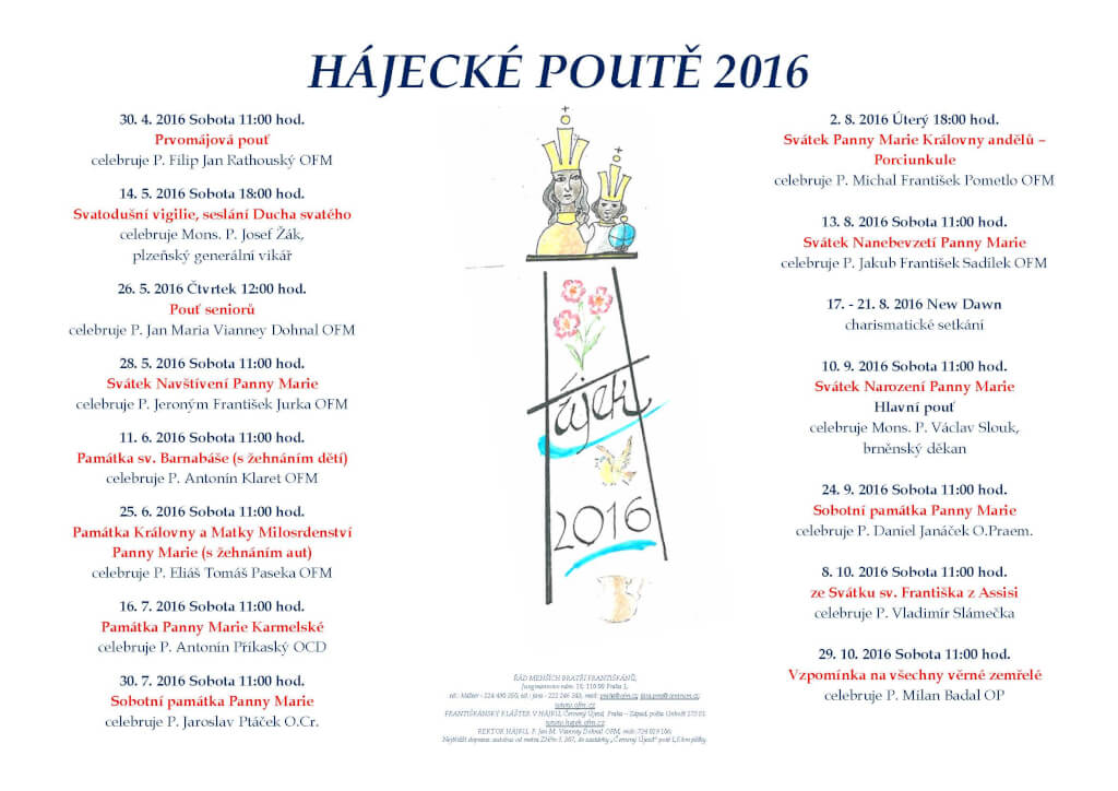 Program poutí v Hájku 2016