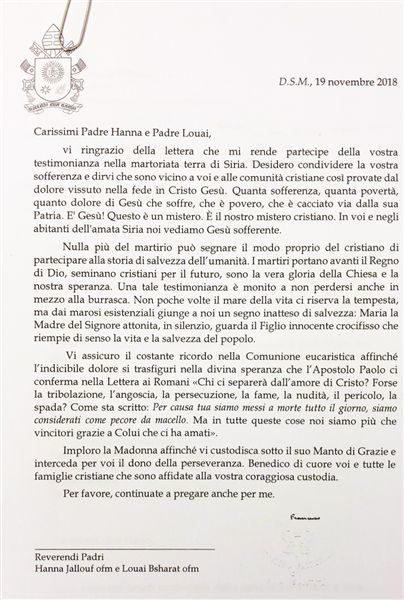 Dopis papeže Františka syrským františkánům. Zdroj: custodia.org.